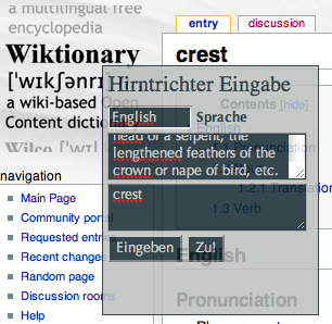 Screenshot vom Bookmarklet in Aktion auf http://en.wiktionary.org/wiki/crest